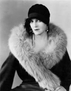 olga baclanova Russian actress hat fur coat earrings pearl necklace fashion photograph use