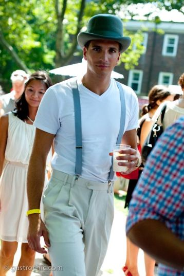 Gray Bowler Hat and Suspenders, Jazz Age Lawn Party