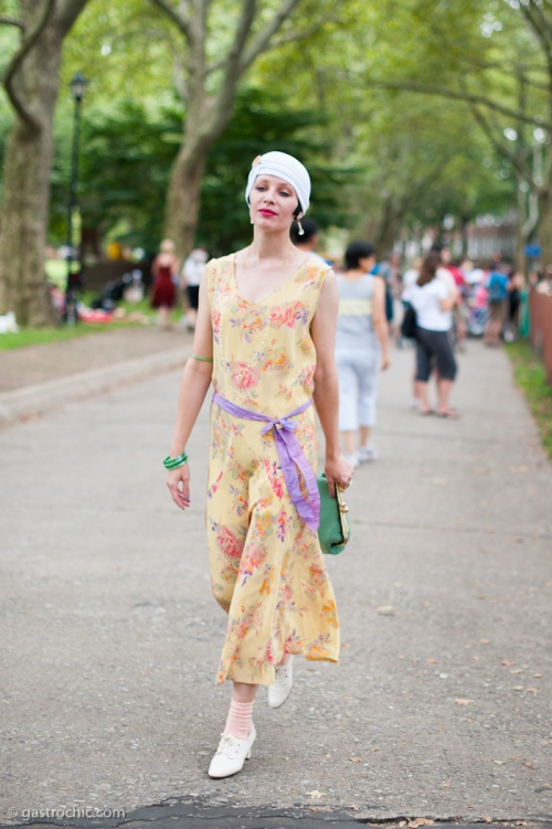 White Turban and Floral Dress, Jazz Age Lawn Party